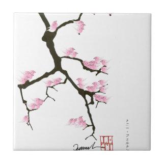 pink sakura and birds, tony fernandes tile