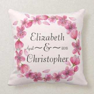 Pink Sakura Blossom Wreath Wedding Throw Pillow