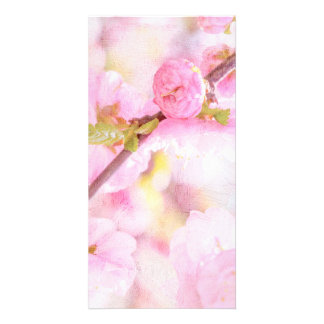 Pink sakura flowers - Japanese cherry blossom Customised Photo Card