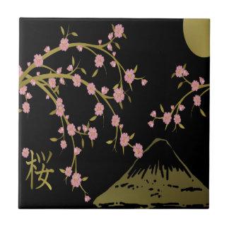 Pink Sakura Gold Black Japanese Screen Small Square Tile