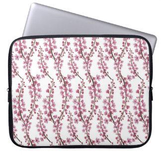 Pink sakura watercolor pattern laptop sleeve
