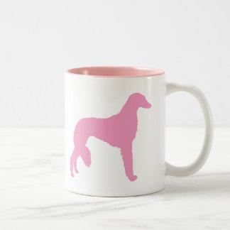 Pink Saluki Dog Two-Tone Coffee Mug