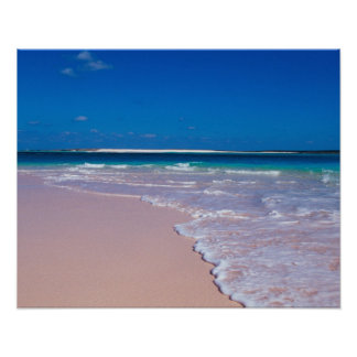 Pink sand beach at Conch Bay, Cat Island, Poster