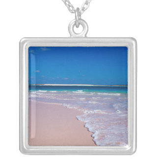 Pink sand beach at Conch Bay, Cat Island, Silver Plated Necklace