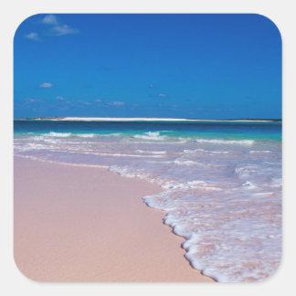 Pink sand beach at Conch Bay, Cat Island, Square Sticker