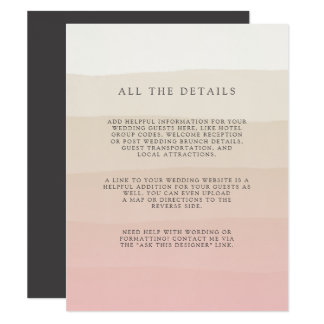 Pink Sand | Wedding Guest Details Card