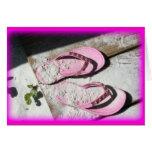 Pink sandy flip flop sandals on Florida beach Greeting Card