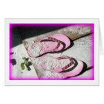 Pink sandy flip flop sandals on Florida beach Note Card