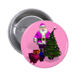 Pink Santa Claus 6 Cm Round Badge