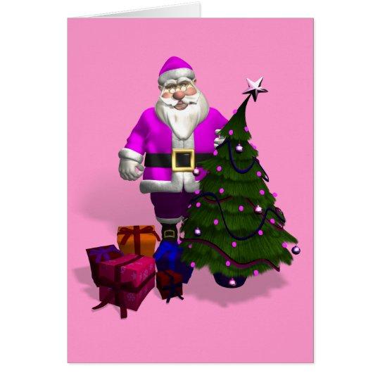Pink Santa Claus Card