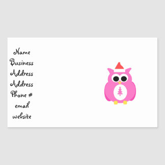 Pink santa owl rectangle stickers