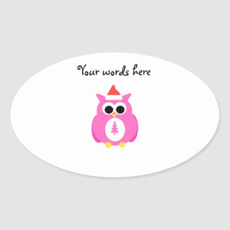 Pink santa owl oval stickers