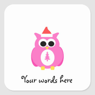 Pink santa owl square sticker