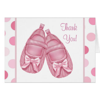 Pink Satin Booties Baby Girl Thank You Cards Note Card