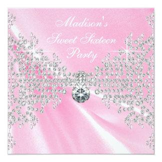 Pink Satin Diamonds Pink Sweet 16 Birthday Party 13 Cm X 13 Cm Square Invitation Card
