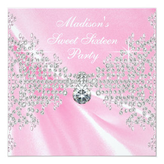 Pink Satin Diamonds Pink Sweet 16 Birthday Party Card