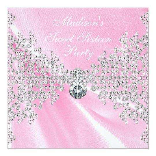 Pink Satin Diamonds Pink Sweet 16 Birthday Party
