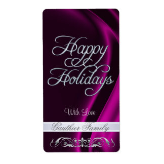 Pink Satin Silver Scroll Happy Holidays Wine