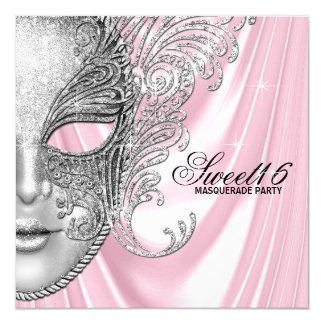 Pink Satin Sweet 16 Masquerade Party Card