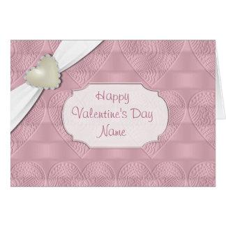Pink Satin Valentine Heart Greeting Card