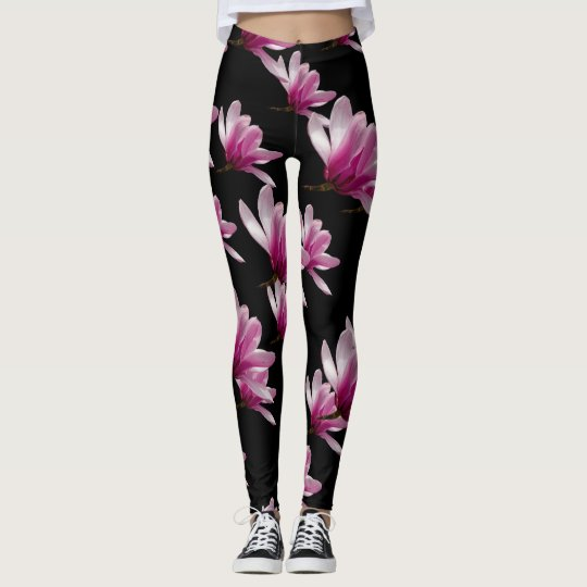 Pink Saucer Magnolia Blossoms Leggings
