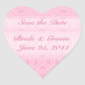 Pink Save the Date Heart Envelope Seal