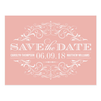 Pink Save the Date | Swirl and Flourish Postcard