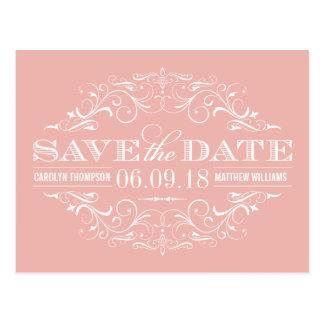 Pink Save the Date | Swirl and Flourish Postcard