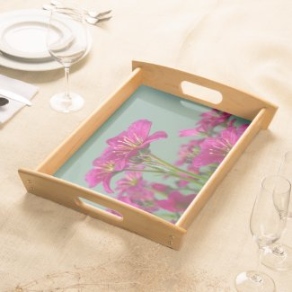 Pink Saxifrage Floral Serving Tray