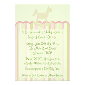 Pink Scallop Damask & Stripes Baby Shower Invite