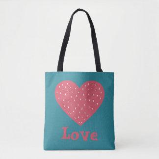 Pink Scandinavian Style Heart Love Tote Bag