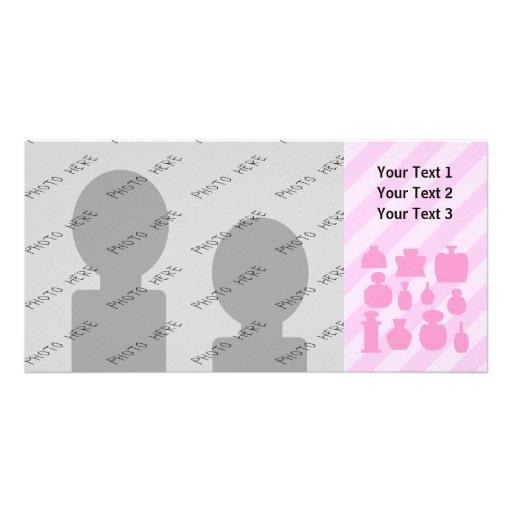 Pink Scent Bottles. Custom Photo Card