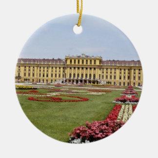 Pink Schonbrunn Castle, Vienna, Austria flowers Round Ceramic Decoration