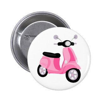 Pink Scooter 6 Cm Round Badge