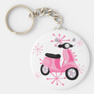 Pink Scooter Basic Round Button Key Ring