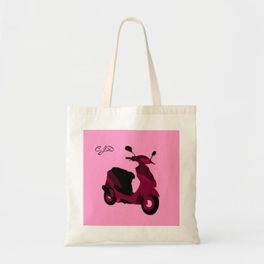 Pink Scooter Girl Custom Monogrammed Initials