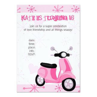 Pink Scooter with Hearts! 11 Cm X 16 Cm Invitation Card