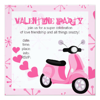 Pink Scooter with Hearts! 13 Cm X 13 Cm Square Invitation Card
