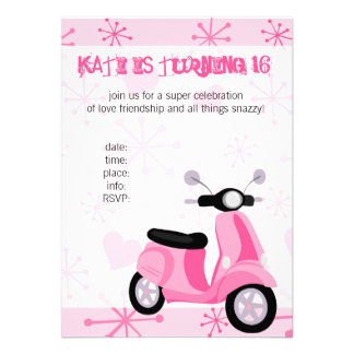 Pink Scooter with Hearts Invites