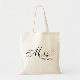 Pink Scribbled Heart Future Mrs Budget Tote Bag