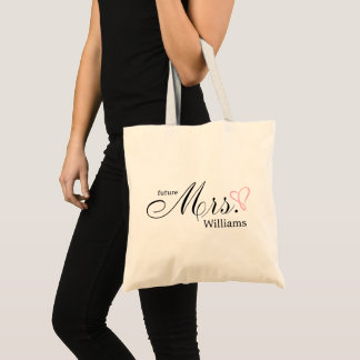 Pink Scribbled Heart Future Mrs Tote Bag