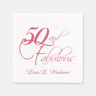 Pink Script 50th and Fabulous! Birthday Disposable Serviette