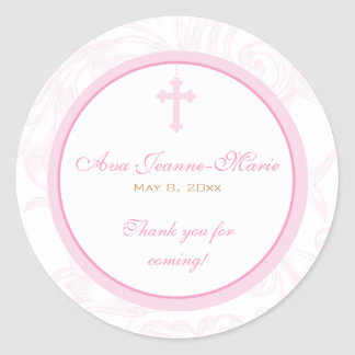 Pink Scroll Cross Address Label/Favor Sticker