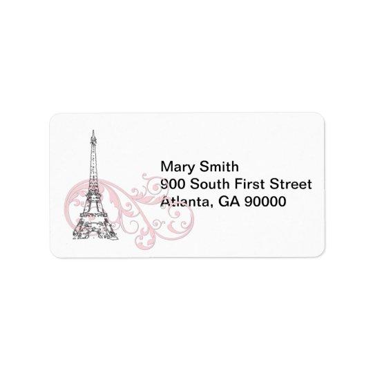 Pink Scrolls and Eiffel Tower Address Label