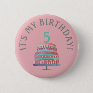 Pink Sea Foam Green Birthday Cake Age Button