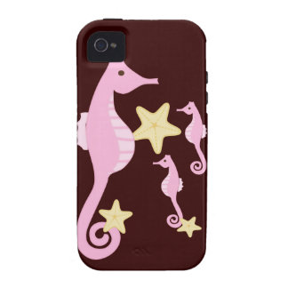 Pink Sea Horses iPhone 4 Case