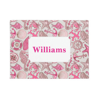 Pink Sea Pattern | Add Your Name Doormat