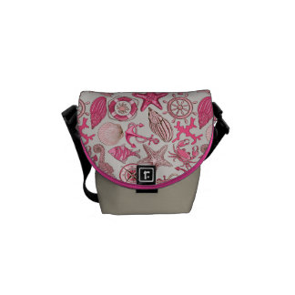 Pink Sea Pattern Courier Bag