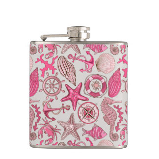 Pink Sea Pattern Flask