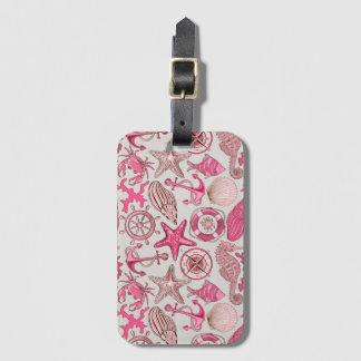 Pink Sea Pattern Luggage Tag